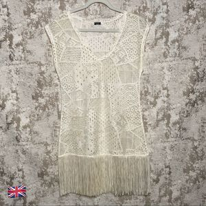 Calzedonia Cream Lace Cover Up with Fringe